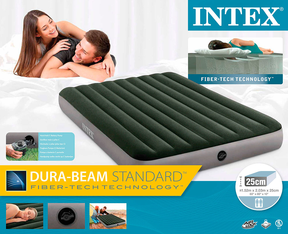 Надувной матрас Prestige Downy Bed, 152х203х25см, насос на батарейках в комплекте, Intex 64779